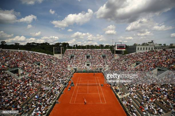 A general view over court Suzanne Lenglen during the mens singles fourth round match between Karen Khachanov of Russia and Alexander Zverev of...