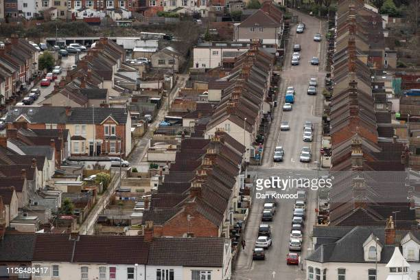 A general view over housing on the edge of the town centre on February 20 2019 in Swindon England The factory is Honda's only EU plant and has...