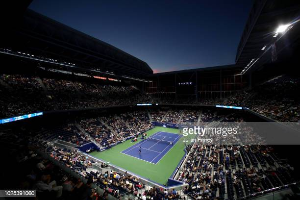 General view over Louis Armstrong Stadium during the men's singles second round match between Kei Nishikori and Gael Monfils on Day Four of the 2018...