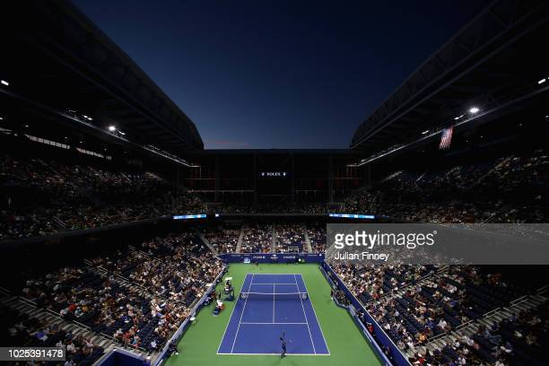 A general view over Louis Armstrong Stadium during the men's singles second round match between Kei Nishikori and Gael Monfils on Day Four of the...