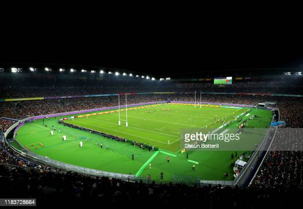 A general view over play inside the stadium during the Rugby World Cup 2019 SemiFinal match between Wales and South Africa at International Stadium...