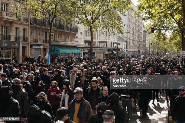 General view over protesters during the 1st of May marches in Paris on May 1th 2017 Framed between the first and second rounds for the 2017 French...