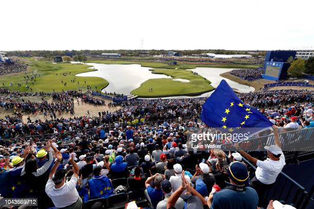 A general view over the 18th green during singles matches of the 2018 Ryder Cup at Le Golf National on September 30 2018 in Paris France