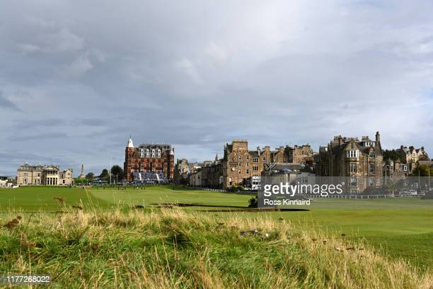 General view over the 1st and 18th during Day one of the Alfred Dunhill Links Championship at The Old Course on September 26, 2019 in St Andrews,...