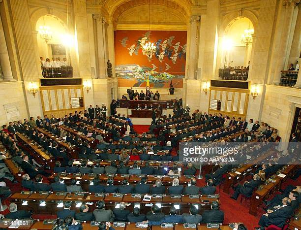 General view over the assembly of the National Congress in Bogota where President of Columbia Alvaro Uribe gets sworn in on 7 August 2002 AFP...
