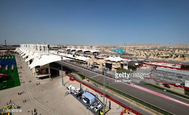 General view over the circuit before final practice for the F1 Grand Prix of Bahrain at Bahrain International Circuit on March 30, 2019 in Bahrain,...