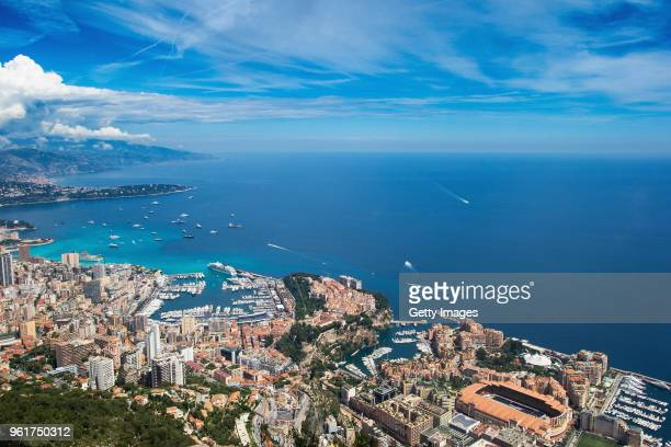 A general view over the circuit during previews ahead of the Monaco Formula One Grand Prix at Circuit de Monaco on May 23 2018 in MonteCarlo Monaco