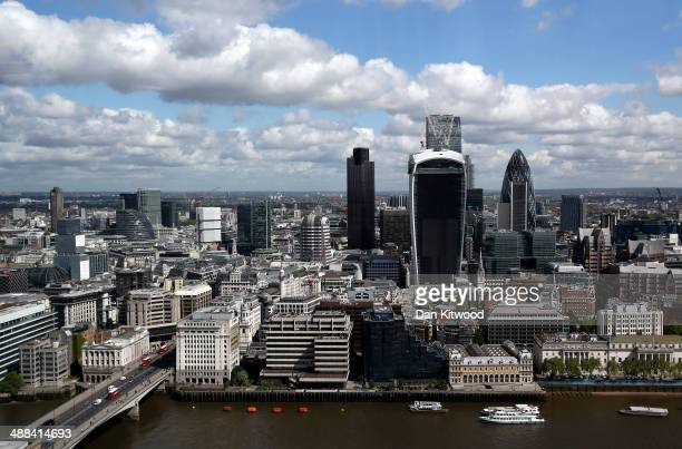 A general view over the City of London from the reception of the ShangriLa Hotel at the Shard on May 6 2014 in London England The Shangri La Hotel...