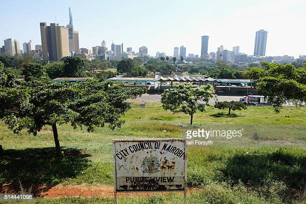 General view over the city park towards the Nairobi skyline on February 23 2016 in Nairobi Kenya Situated in East Africa with a coastline on the...