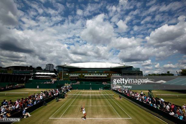 A general view over the courts on Day Ten of the Wimbledon Lawn Tennis Championships at the All England Lawn Tennis and Croquet Club on June 30 2011...