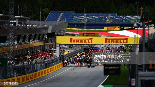 General view over the grid before the Formula One Grand Prix of Styria at Red Bull Ring on July 12, 2020 in Spielberg, Austria.