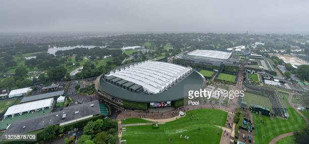 General view over the grounds as the gates open for ticket holders ahead of the start of play during Day One of The Championships - Wimbledon 2021 at...