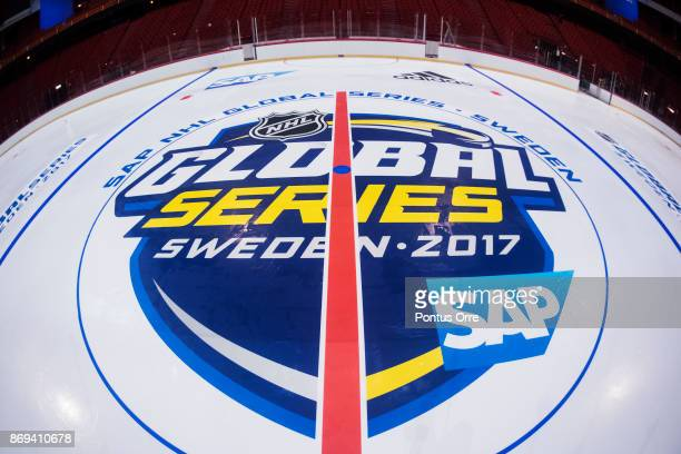 General view over the logos and lines during the rink build out ahead of the SAP NHL Global Series between Ottawa Senators and Colorado Avalanche at...
