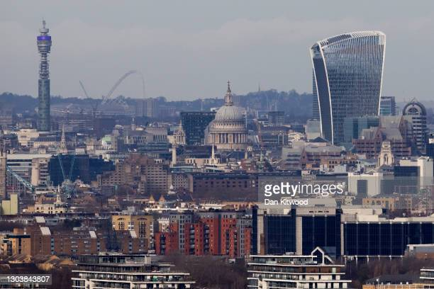General view over the London skyline including St Paul's Cathedral, the Wembley Arch, and the BT Tower on February 24, 2021 in London, United Kingdom.