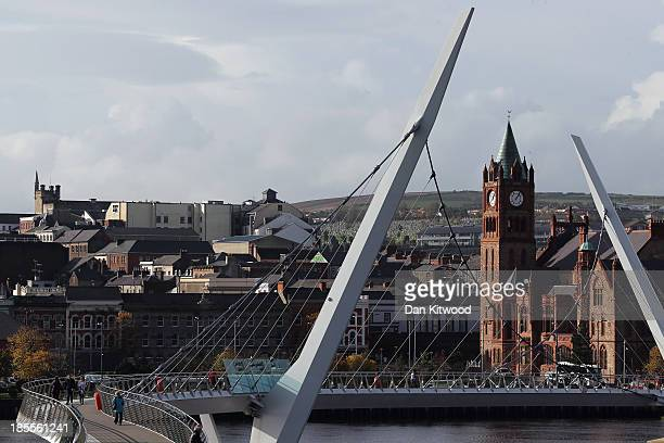 General view over the River Foyle and the Peace Bridge from Ebrington Square, the venue of the 2013 Turner Prize, on October 22, 2013 in Londonderry,...