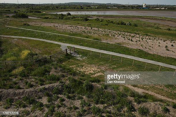 A general view over the site from the Corey Environmental Trust Visitor Centre at 'Thurrock Thameside Nature Park' on June 6 2013 in Thurrock England...