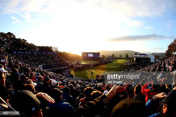 A general view overlooking the 1st tee during the Morning Fourballs of the 2014 Ryder Cup on the PGA Centenary course at the Gleneagles Hotel on...