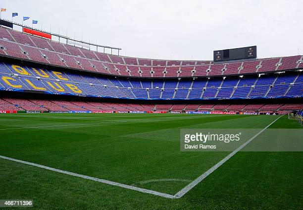 A general view pitchside prior to the UEFA Champions League Round of 16 second leg match between Barcelona and Manchester City at Camp Nou on March...