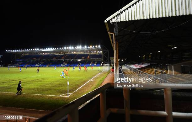 General view play as Idris Kanu of Peterborough crosses the ball during the Papa John's Trophy match between Peterborough United and Portsmouth on...