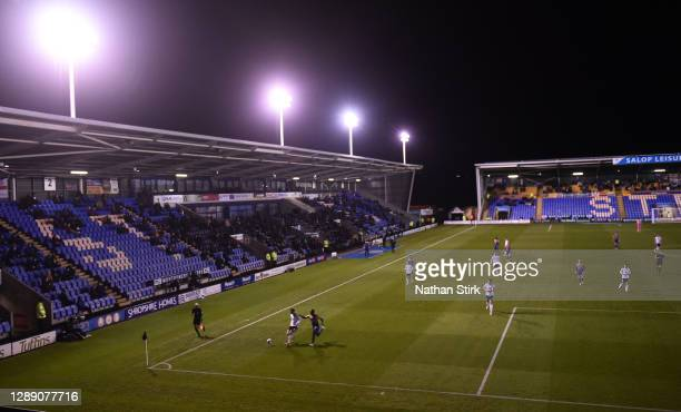 General view play during the Sky Bet League One match between Shrewsbury Town and Accrington Stanley at Montgomery Waters Meadow on December 02, 2020...
