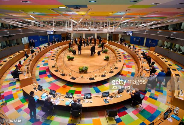 A general view prior the start of the EU summit at the European Council building in Brussels on July 18 as the leaders of the European Union hold...