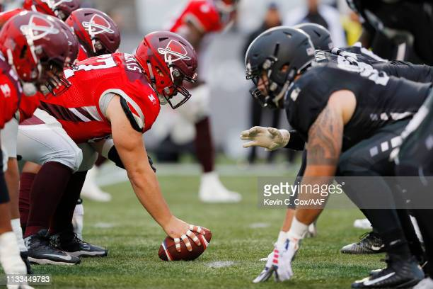 A general view prior to a snap during the first half of an Alliance of American Football game between the San Antonio Commanders and the Birmingham...