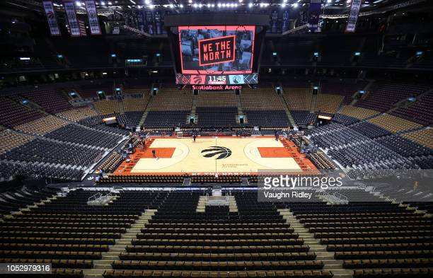 General view prior to an NBA game between the Minnesota Timberwolves and the Toronto Raptors at Scotiabank Arena on October 24 2018 in Toronto Canada...
