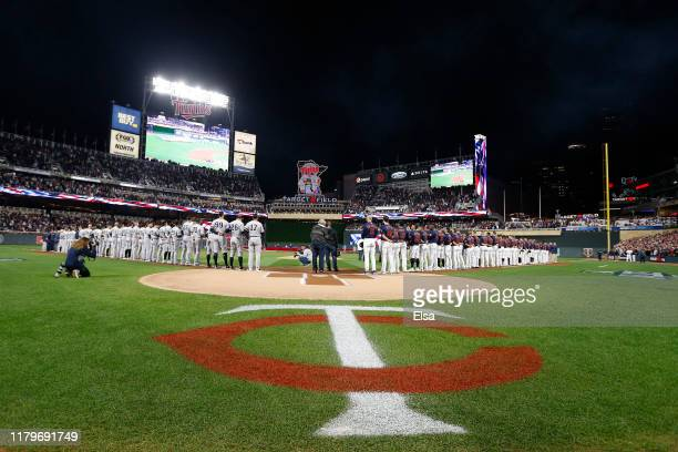 General view prior to game three of the American League Division Series between the New York Yankees and the Minnesota Twins at Target Field on...