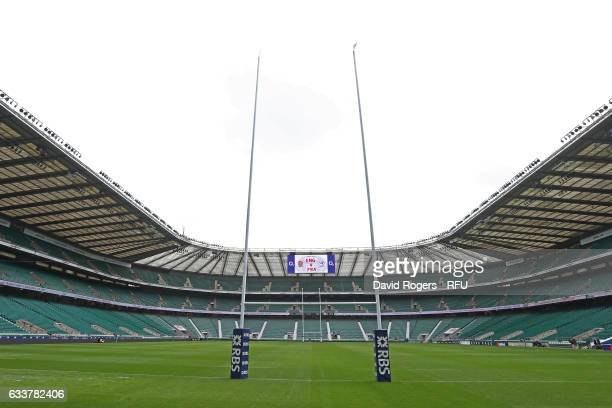 A general view prior to kickoff during the RBS Six Nations match between England and France at Twickenham Stadium on February 4 2017 in London England