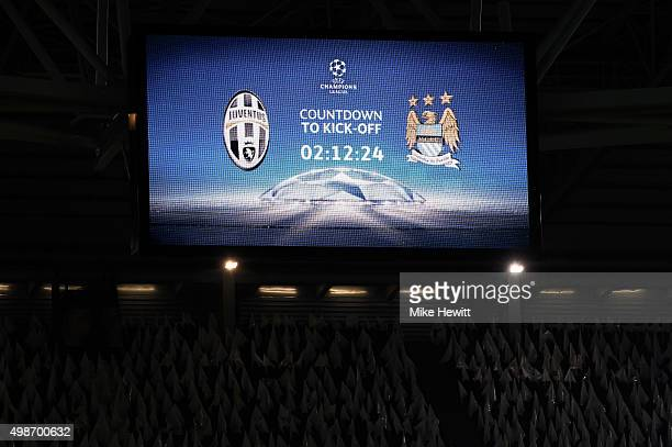 A general view prior to kickoff during the UEFA Champions League group D match between Juventus and Manchester City FC at the Juventus Stadium on...
