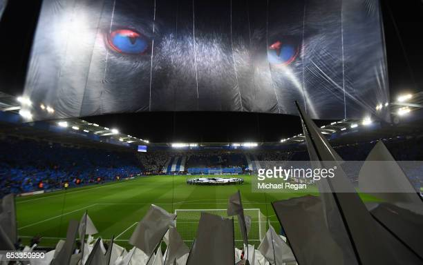 A general view prior to kickoff during the UEFA Champions League Round of 16 second leg match between Leicester City and Sevilla FC at The King Power...