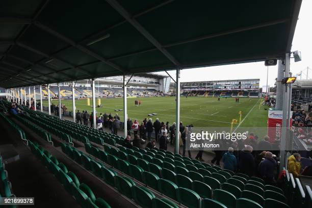 General view prior to the Aviva Premiership match between Worcester Warriors and Gloucester Rugby at Sixways Stadium on February 17 2018 in Worcester...