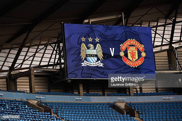 A general view prior to the Barclays Premier League match between Manchester City and Manchester United at Etihad Stadium on November 2 2014 in...
