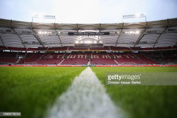 A general view prior to the Bundesliga match between VfB Stuttgart and SportClub Freiburg at MercedesBenz Arena on February 3 2019 in Stuttgart...