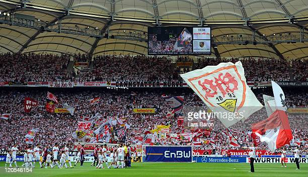 A general view prior to the Bundesliga match between VfB Stuttgart and FC Schalke 04 at MercedesBenz Arena on August 6 2011 in Stuttgart Germany
