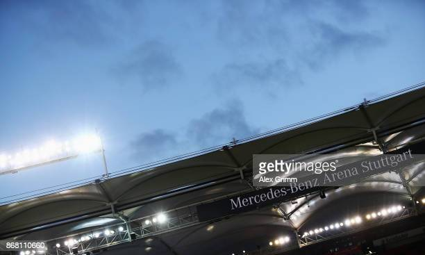 A general view prior to the Bundesliga match between VfB Stuttgart and SportClub Freiburg at MercedesBenz Arena on October 29 2017 in Stuttgart...