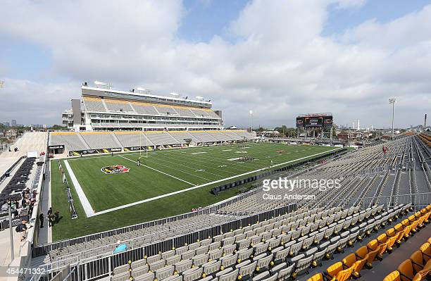 A general view prior to the CFL football game between the Toronto Argonauts and Hamilton Tigercats during at Tim Hortons Field on September 1 2014 in...