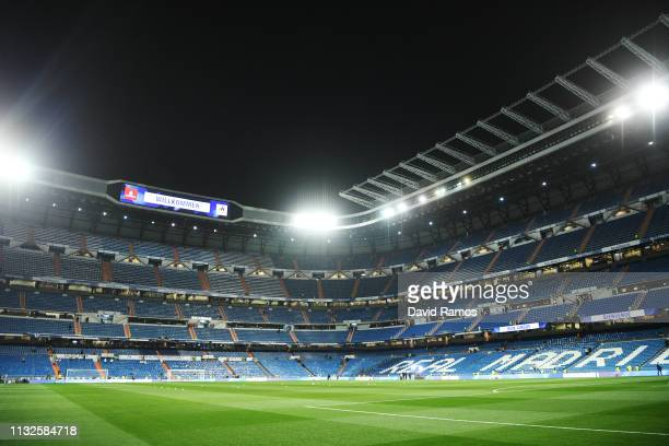 General view prior to the Copa del Rey Semi Final second leg match between Real Madrid and FC Barcelona at Bernabeu on February 27, 2019 in Madrid,...