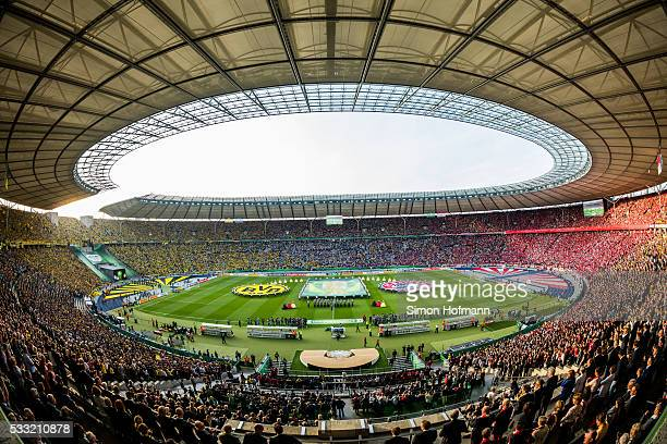 A general view prior to the DFB Cup Final match between Bayern Muenchen and Borussia Dortmund at Olympiastadion on May 21 2016 in Berlin Germany