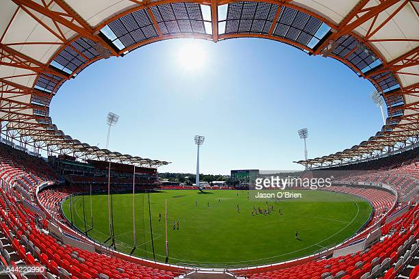 A general view prior to the first bounce during the round 15 AFL match between the Gold Coast Suns and the St Kilda Saints at Metricon Stadium on...