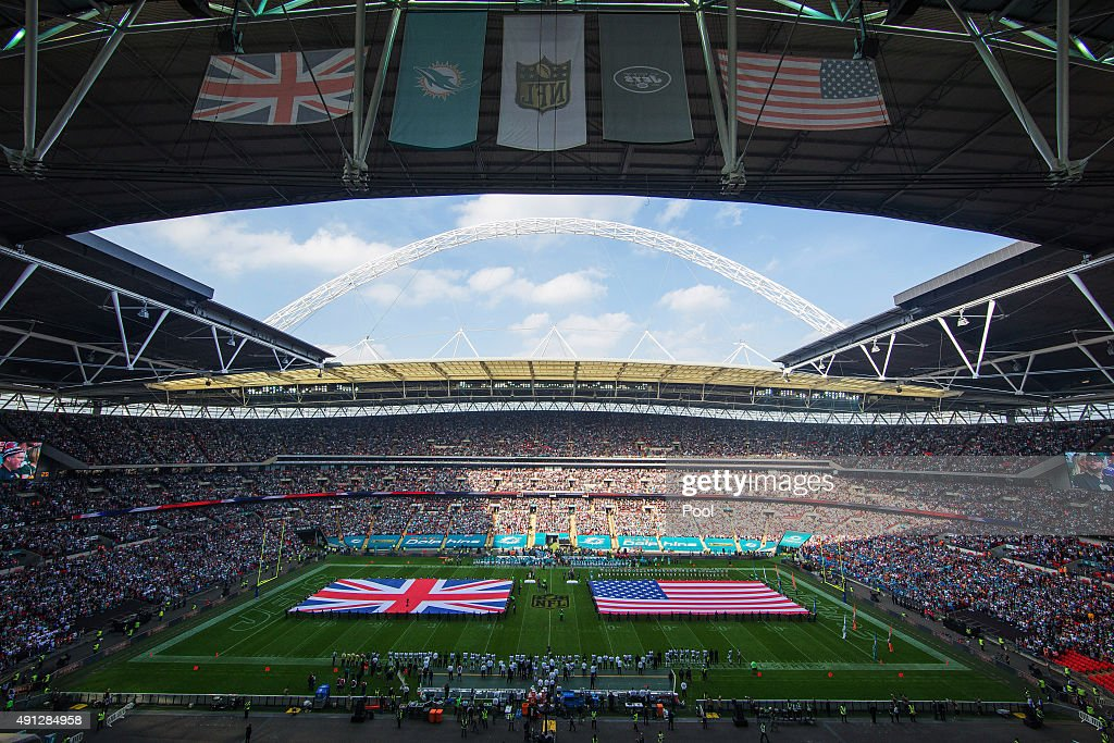 A general view prior to the game between Miami Dolphins and New York Jets at Wembley Stadium on October 4, 2015 in London, England.
