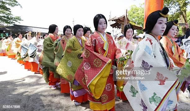 A general view prior to the 'MisoginoGi ' at Kamigamo Jinja Shrine ahead of Aoi Matsuri festival which she will be the principal figure on May 4 2016...
