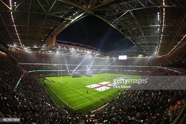 A general view prior to the RBS Six Nations match between Wales and England at the Millennium Stadium on February 6 2015 in Cardiff Wales