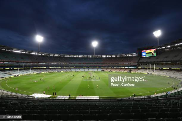 A general view prior to the round 1 AFL match between the Richmond Tigers and the Carlton Blues at Melbourne Cricket Ground on March 19 2020 in...