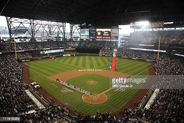 A general view prior to the Seattle Mariners' home opener against the Cleveland Indians at Safeco Field on April 8 2011 in Seattle Washington