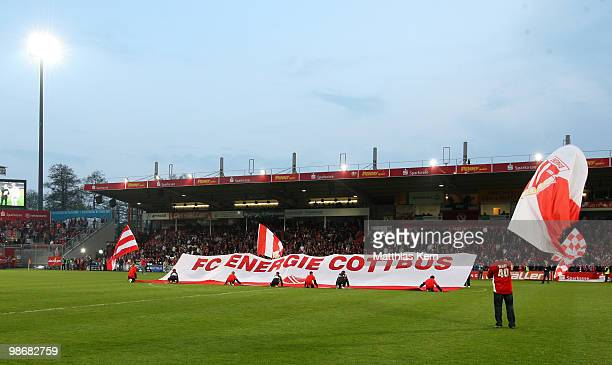 General view prior to the Second Bundesliga match between FC Energie Cottbus and 1.FC Union Berlin at Stadion der Freundschaft on April 26, 2010 in...