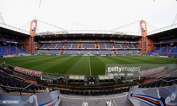 A general view prior to the Serie A match between UC Sampdoria and FC Internazionale Milano at Stadio Luigi Ferraris on March 22 2015 in Genoa Italy