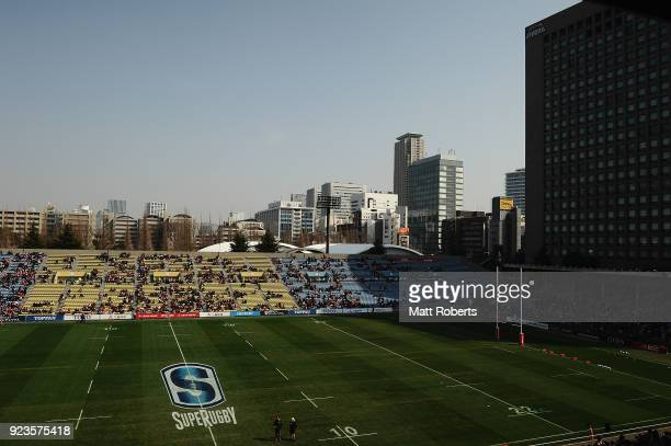 A general view prior to the Super Rugby round 2 match between Sunwolves and Brumbies at the Prince Chichibu Memorial Ground on February 24 2018 in...