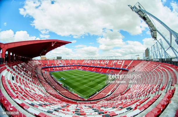A general view prior to the UEFA Champions Quarter Final Leg One match between Sevilla FC and FC Bayern Muenchen at Estadio Ramon Sanchez Pizjuan on...