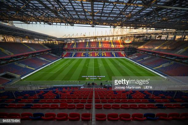 A general view prior to the UEFA Europa League quarter final leg two match between CSKA Moskva and Arsenal FC at CSKA Arena on April 12 2018 in...